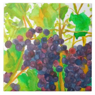 Purple Watercolor Wine Grapes Tile