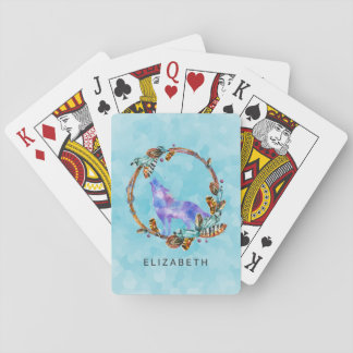 Purple Watercolor Wolf with a Boho Wreath Custom Playing Cards