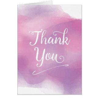 Purple Watercolour Cursive Thank You Card