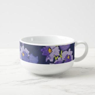 Purple Watercolour Floral Pattern Soup Mug Bowl