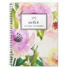 Purple Watercolour Lilies Floral Personalized Notebook