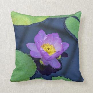 Purple waterlily throw cushion