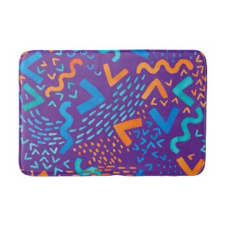 Purple Wave Bright Abstract Watercolor Patterns Bathroom Mat