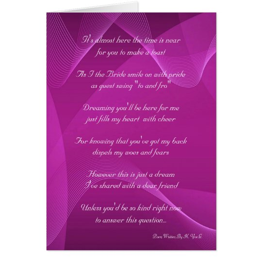 Purple Wave Will You Be My Bridesmaid Card