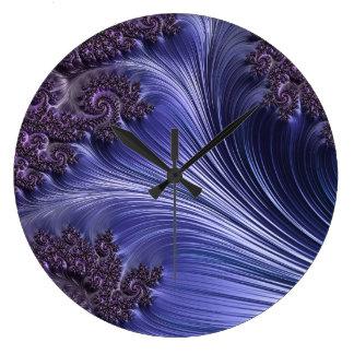 Purple waves abstract art wall clock
