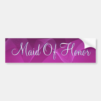 Purple Waves Maid Of Honor Bumper Sticker