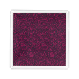 Purple waves pattern. Sea texture. Acrylic Tray