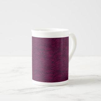 Purple waves pattern. Sea texture. Tea Cup