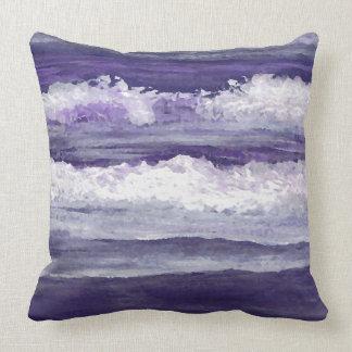 Purple Waves Sea Beach Decor Pillow