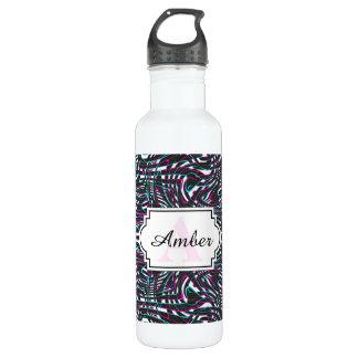 Purple wavy stripes optical illusion 710 ml water bottle