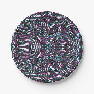 Purple wavy stripes optical illusion 7 inch paper plate