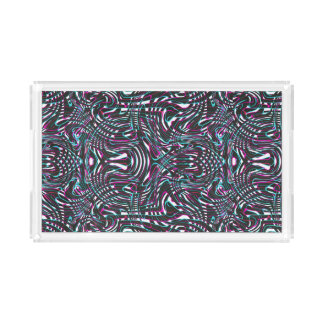 Purple wavy stripes optical illusion acrylic tray