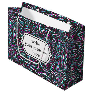 Purple wavy stripes optical illusion large gift bag