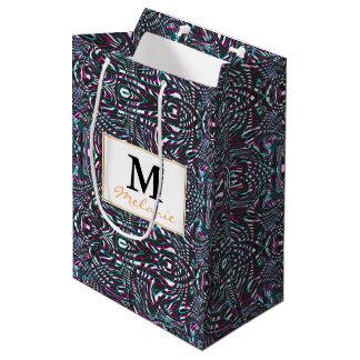 Purple wavy stripes optical illusion medium gift bag