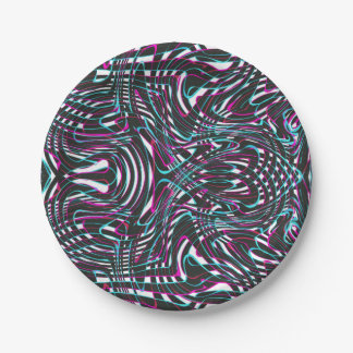 Purple wavy stripes optical illusion paper plate