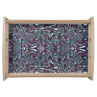 Purple wavy stripes optical illusion serving tray