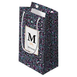 Purple wavy stripes optical illusion small gift bag