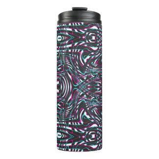 Purple wavy stripes optical illusion thermal tumbler