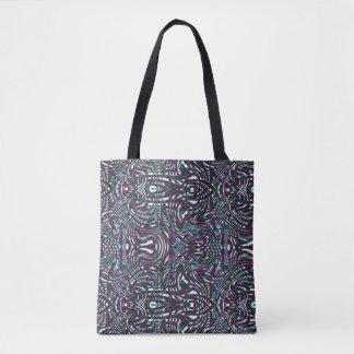 Purple wavy stripes optical illusion tote bag