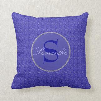 Purple Weave Glitzy Framed Monogram Throw Pillow