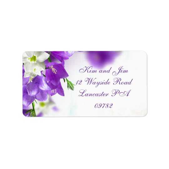 purple wedding address label