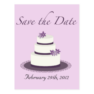 Purple Wedding Cake Save the Date Postcard