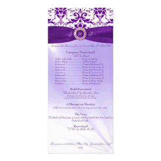 Purple Wedding Ceremony Program Custom Rack Card