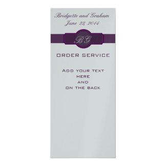 "Purple Wedding Church Programs on Silver Paper 4"" X 9.25"" Invitation Card"