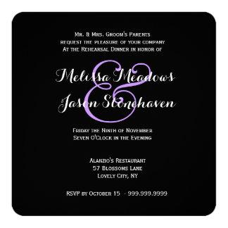 "Purple Wedding Damask Lace Rehearsal Dinner 2 5.25"" Square Invitation Card"