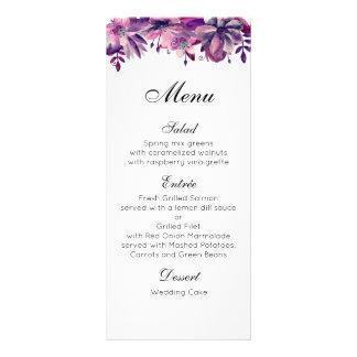 Purple wedding menu. Floral dinner menu watercolor