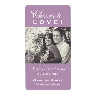 Purple Wedding Photo Wine Bottle Favor Labels