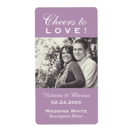 Purple Wedding Photo Wine Bottle Favour Labels