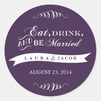 Purple Wedding Sticker | Eat, Drink & Be Married