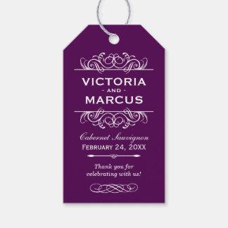 Purple Wedding Wine Bottle Monogram Favor Tags