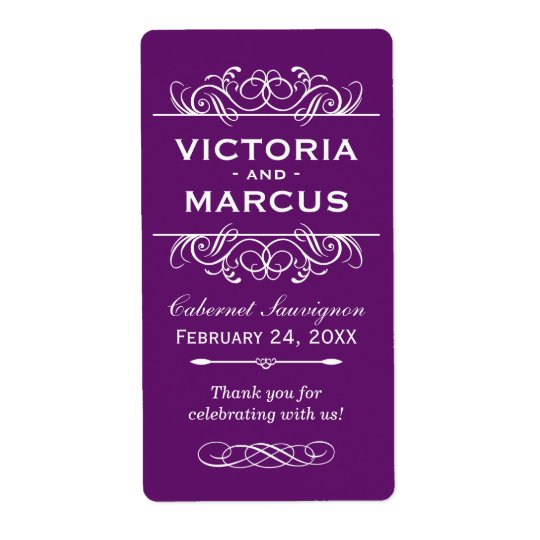 Purple Wedding Wine Bottle Monogram Favour Labels