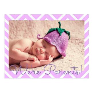 Purple  We're Parents Baby Birth Announcement Postcard