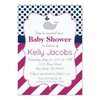 Purple Whale Baby Shower Invitation
