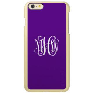 Purple White 3 Initials Vine Script Monogram