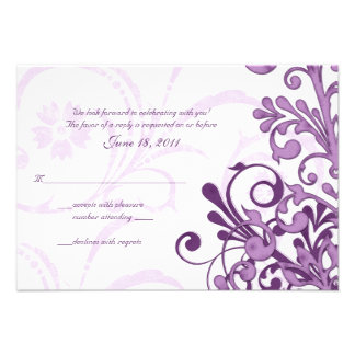 Purple White Abstract Floral Small Reply Card Custom Announcements