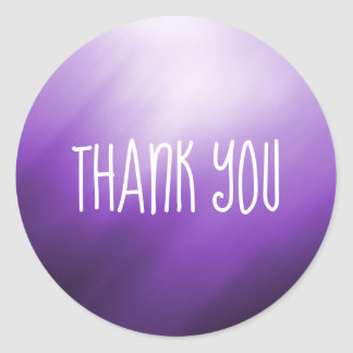 Purple White Abstract Thank You Classic Round Sticker