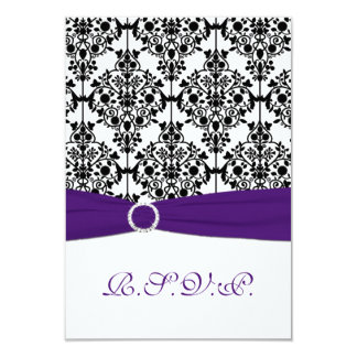 """Purple, White and Black Damask Reply Card 2 3.5"""" X 5"""" Invitation Card"""
