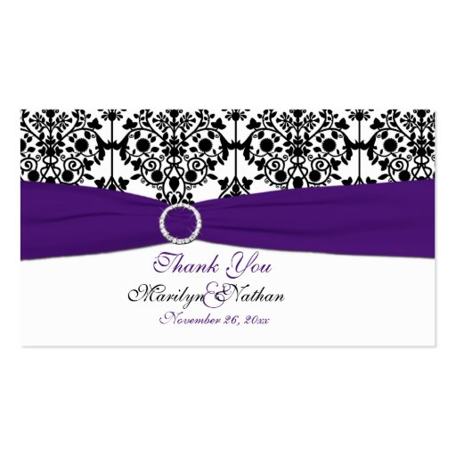 Purple, White and Black Damask Wedding Favor Tag Business Card Template