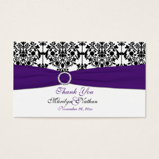 Purple, White and Black Damask Wedding Favor Tag Business Card