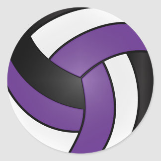 Purple, White and Black Volleyball Classic Round Sticker