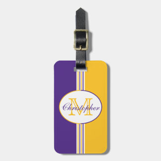 Purple White and Gold Stripes Monogram Luggage Tag
