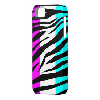 Purple/White/Aqua Zebra Print - iPhone 5 Case