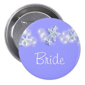 Purple white beach bride bridal 3 inch round button