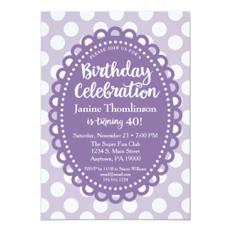 Purple White Birthday Invitation Adult Polka Dots