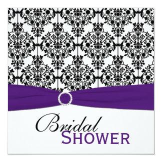 Purple, White, Black Damask Bridal Shower Invite