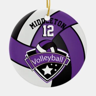 Purple, White & Black Personalize Volleyball Ceramic Ornament